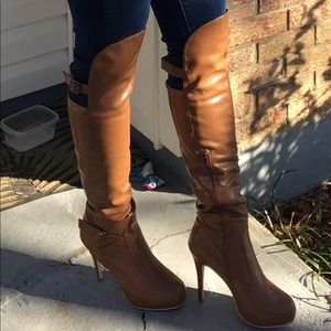 Beautiful thigh-high tan colored boots!
